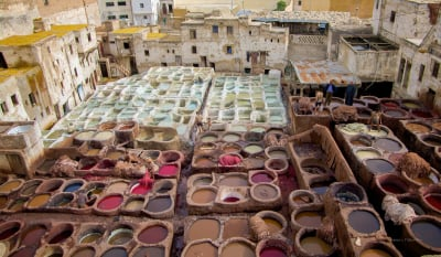 Leather dying, Fez Morocco