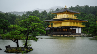 The Golden Temple in the Rain, Kyoto Japan.